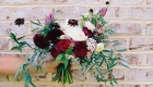 Natural loose wedding hand tied bridal bouquet with cream, burgandy and pink flowers