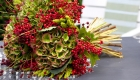 Green hydrangea and red berry Christmas wedding bouquet