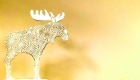 Christmas Moose Ornamaent on white metal