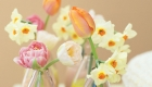 Beautiful arrangement of pastel coloured spring flowers