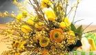 Yellow Ranunculus and Tulips fresh flowers