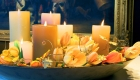 Ambient glow scented candles home styling table centrepiece with fresh flowers by Kate Mell Boston Spa