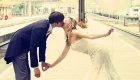 Bride and groom kissing on their wedding day