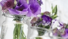 Fresh flowers in glass jars home styling by Kate Mell Flowers Boston Spa