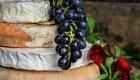 Fresh flowers decorating a cheese layered wedding cake