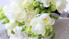White freesia wedding posy