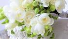 White freesia wedding posy