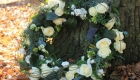 Funeral wreath with fresh white roses
