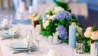 Peach wedding table flowers