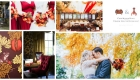Autumn orange, copper red & burgundy wedding flowers