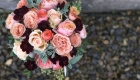 Apricot marsala & coral wedding flowers