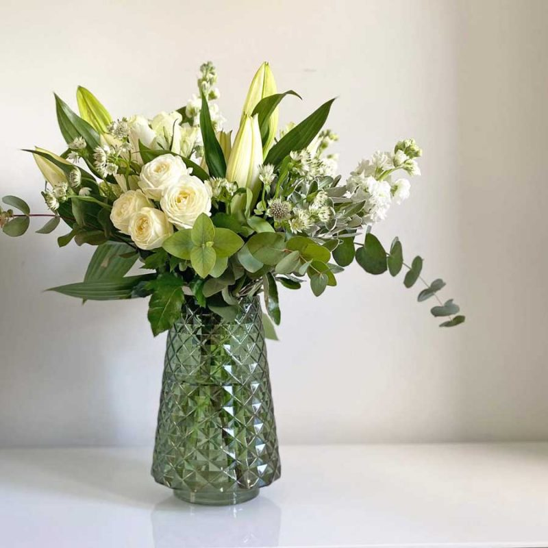 Alabaster & Olive Hand Tied Bouquet in a glass vase