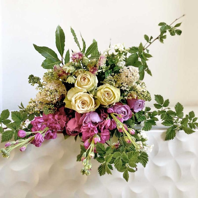 Raspberry & Cream Hand Tied Bouquet