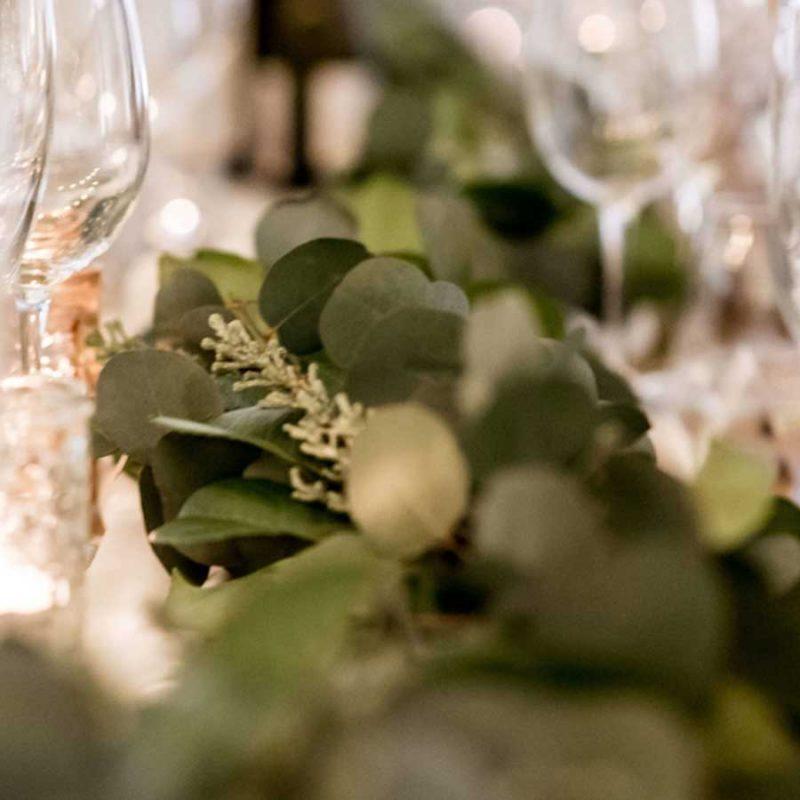 Decorative eucalyptus Green Garland table runner