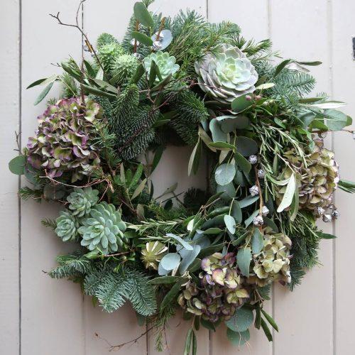 Natural rustic door wreath