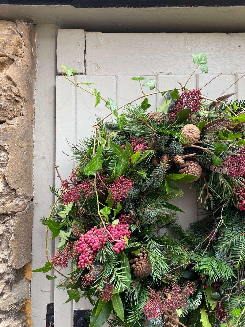 pink natural door wreath